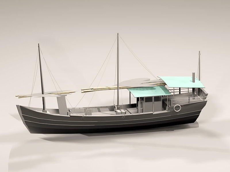 Old Fishing Vessel 3d rendering