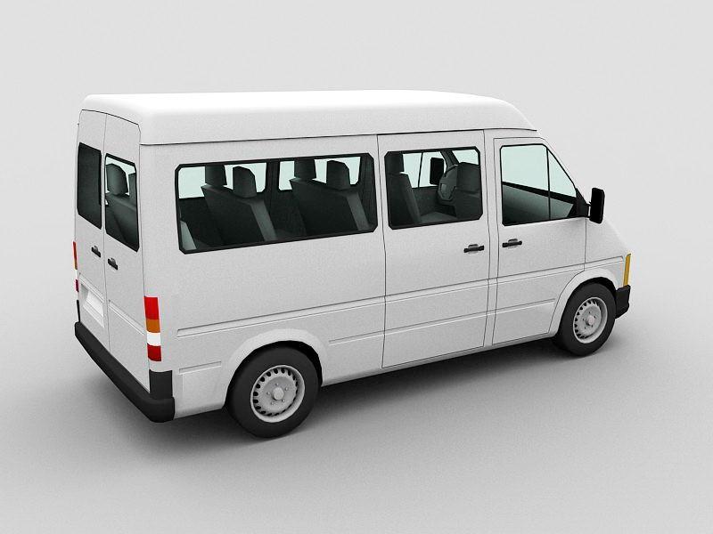 Full Size White Van 3d rendering