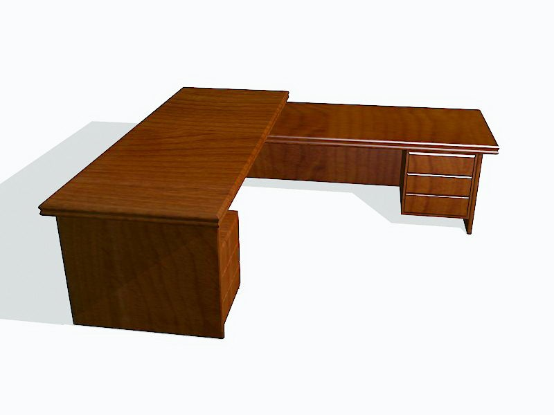 L-shaped Office Desk 3d rendering