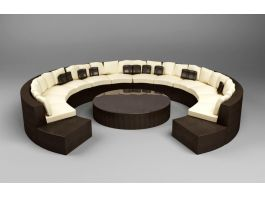 Modern Round Sofa 3d model preview
