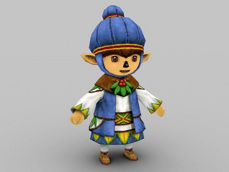 Elf Anime Boy 3d rendering