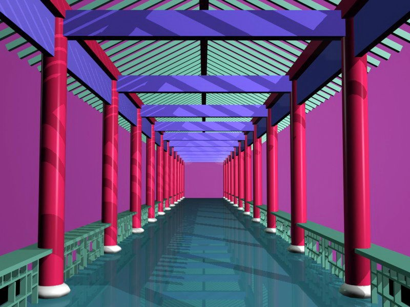 Traditional Chinese Corridors 3d rendering