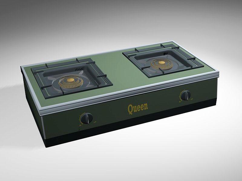 Queen Gas Stove 3d rendering