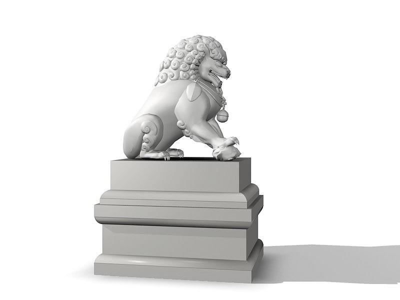 Lion Sculpture Statue 3d rendering