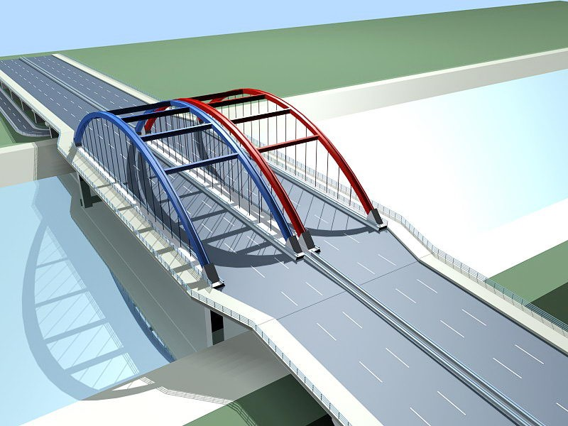 Bridge Over Water 3d rendering