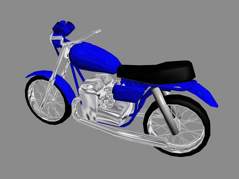 Blue Motorcycle 3d rendering
