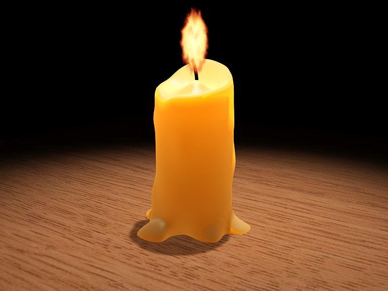Burning Candle 3d rendering