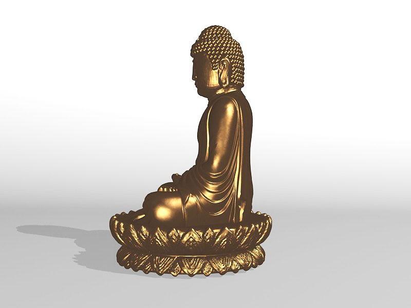 Golden Statue of Buddha 3d rendering