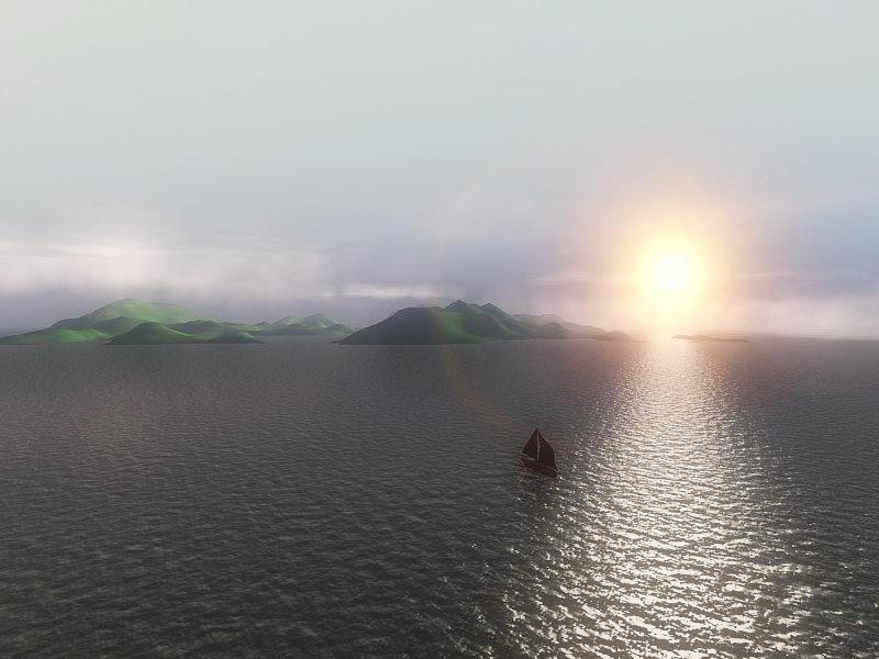 Boat Sunset Ocean 3d rendering
