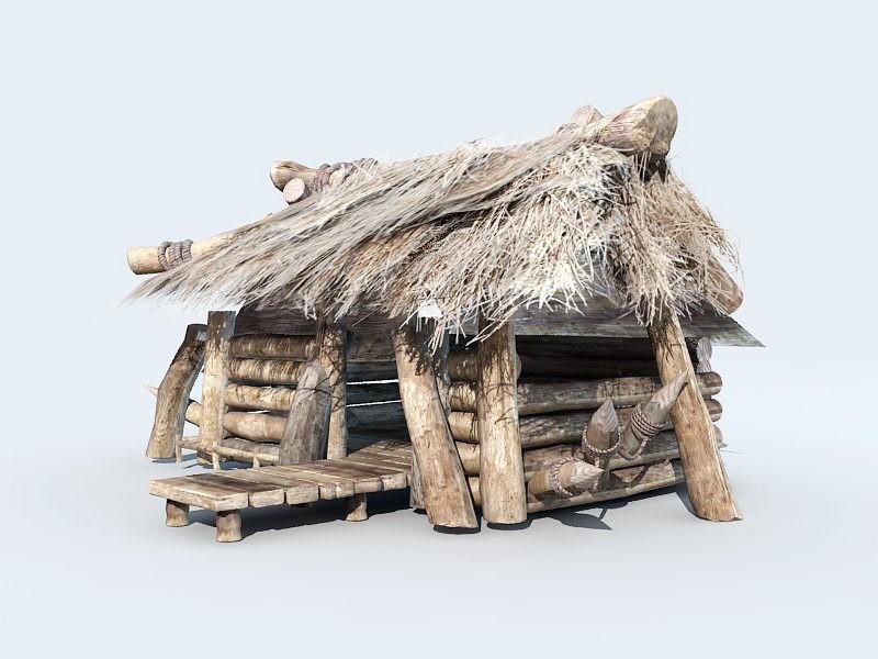 Primitive Log Cabin 3d rendering