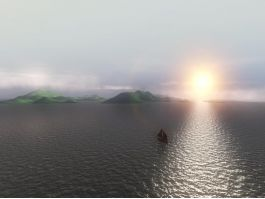 Boat Sunset Ocean 3d preview