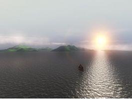Boat Sunset Ocean 3d preview