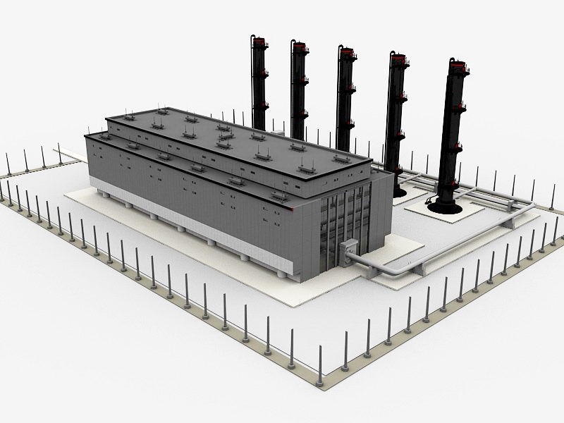 Old Factory Exterior 3d rendering
