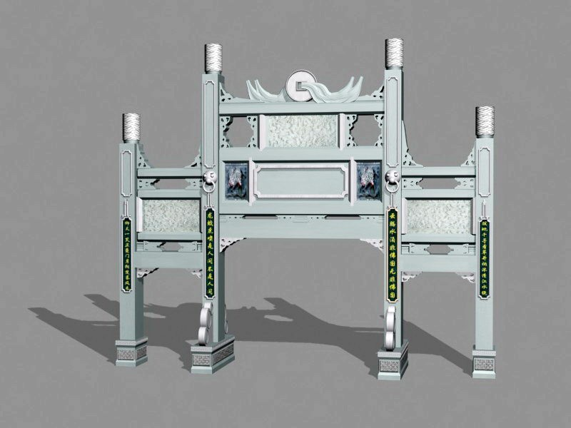 Chinese Paifang Archway 3d rendering