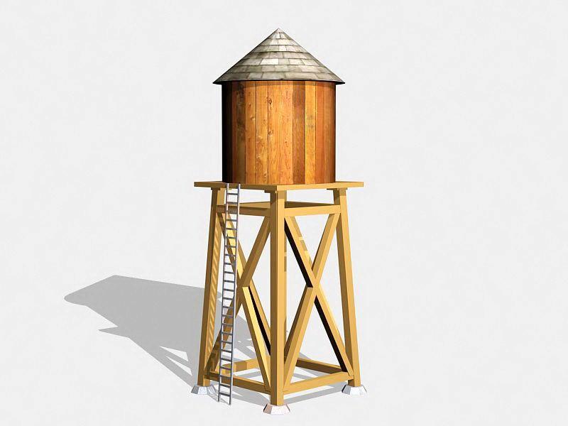 Vintage Wooden Water Tower 3d rendering
