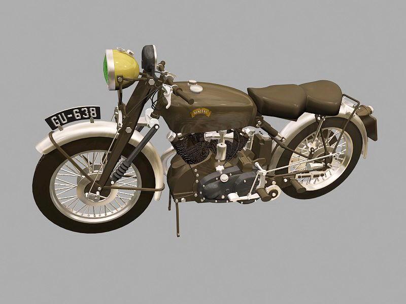Vincent Black Shadow Motorcycle 3d rendering