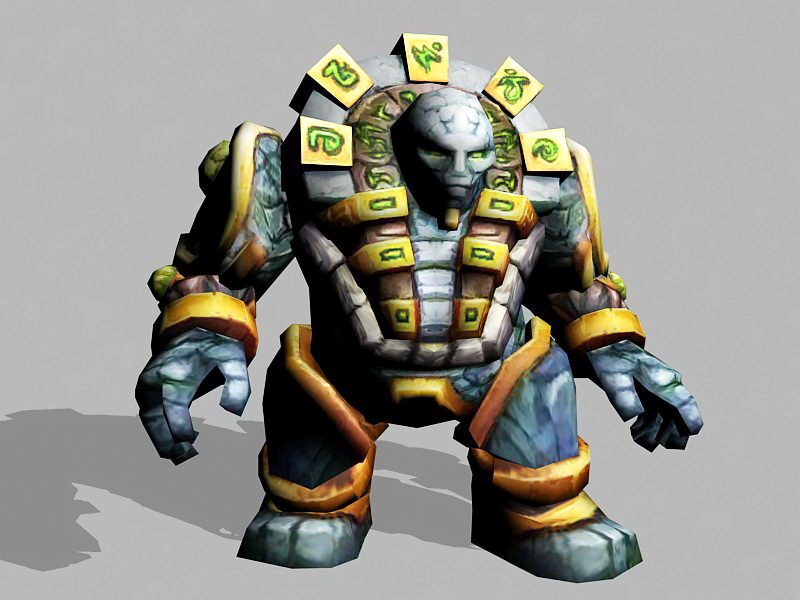 Rock Elemental Golem 3d rendering