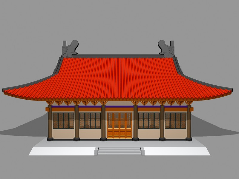 Chinese Buddhist Temple 3d rendering