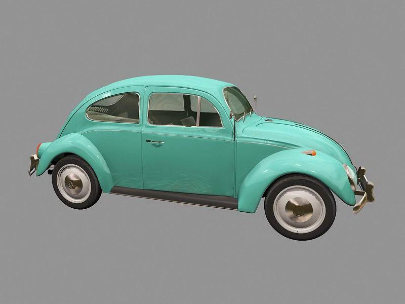 Old Volkswagen Beetle 3d rendering