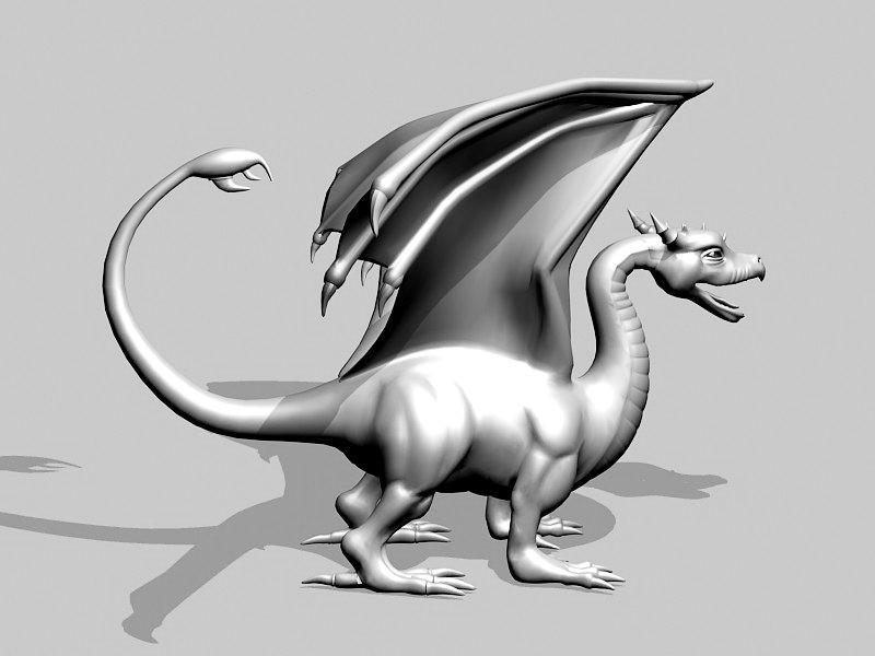 Medieval Dragon Statue 3d rendering