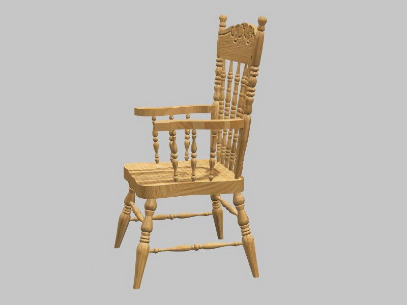 Antique Windsor Chair 3d rendering