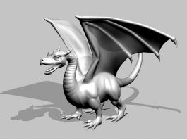 Medieval Dragon Statue 3d preview