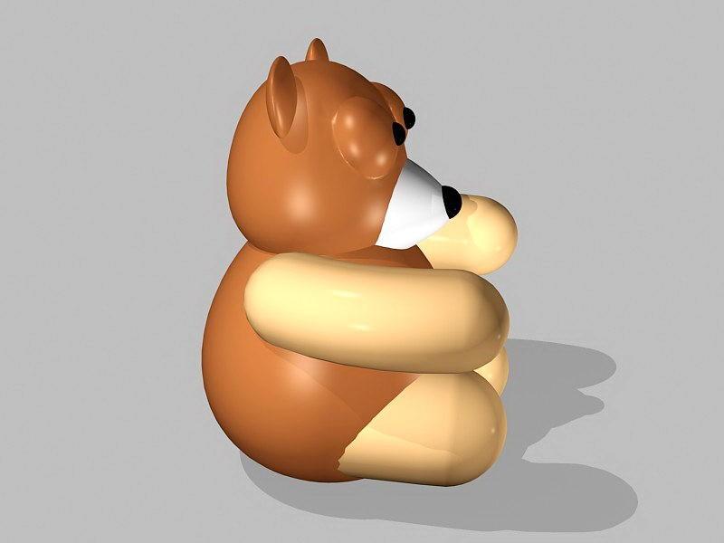 Plastic Toy Bear 3d rendering