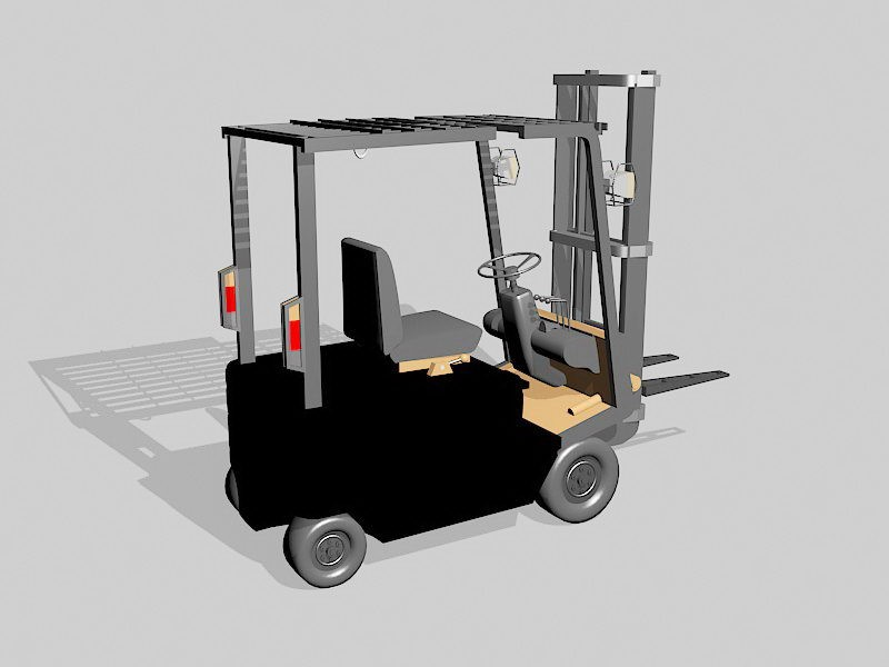 Warehouse Forklift 3d rendering