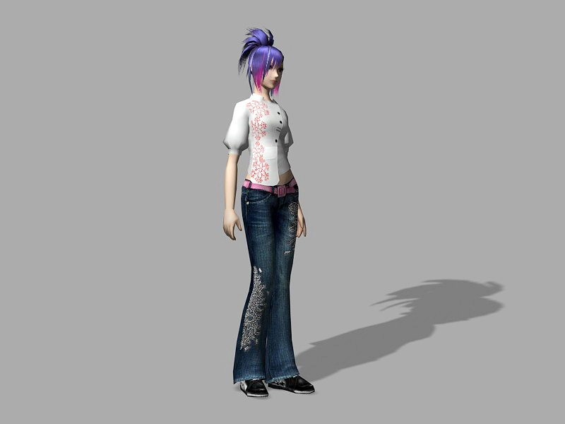 Cool Punk Girl 3d rendering