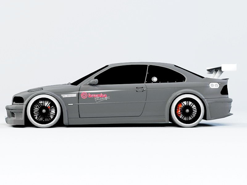 BMW M3 GTR E46 CSL 3d rendering