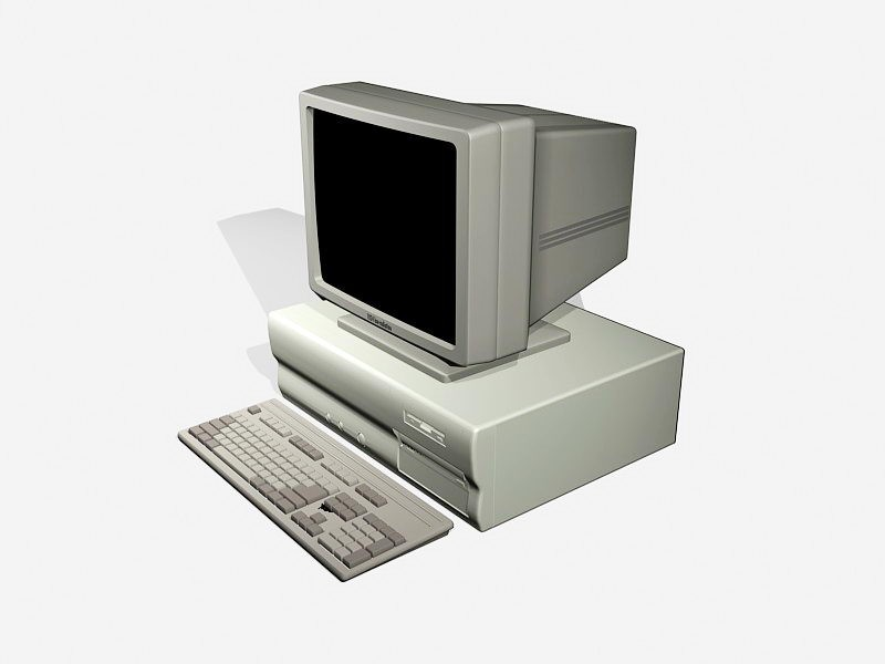Old Desktop Computer with Monitor 3d rendering
