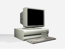 Old Desktop Computer with Monitor 3d model preview