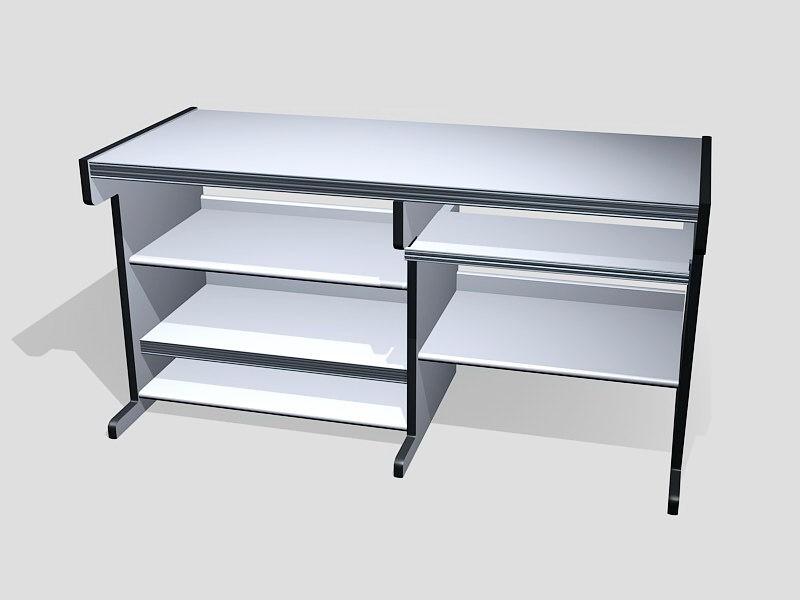 White Office Desk 3d rendering