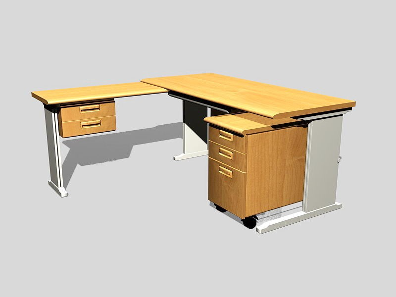 Office Furniture L-shaped Desk 3d rendering