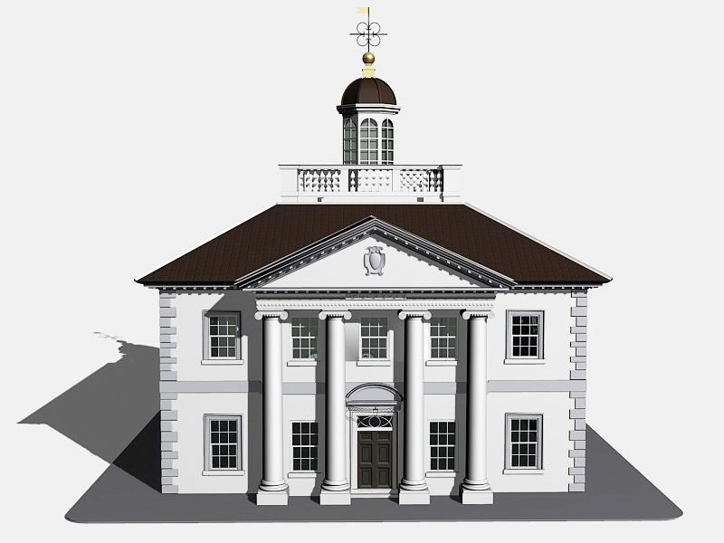 Ionic Pillar Building 3d rendering