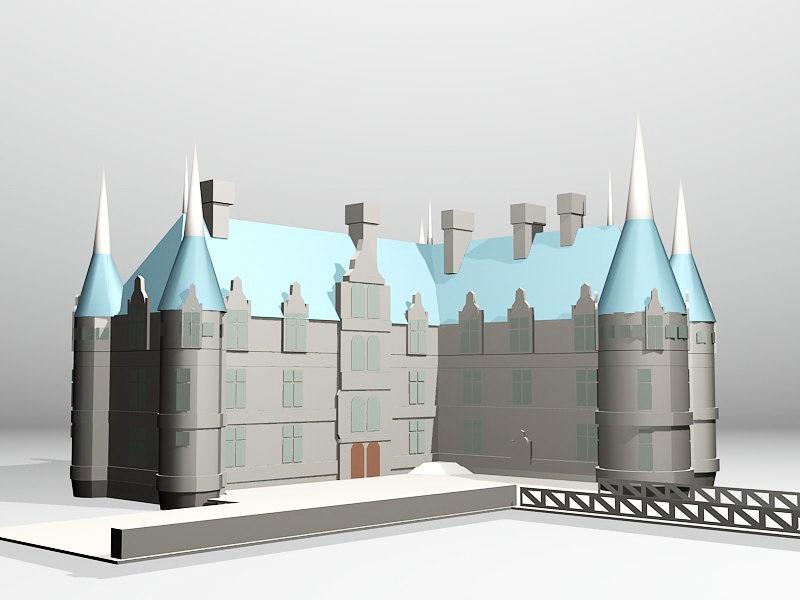 Château Castle of Azay-le-Rideau 3d rendering