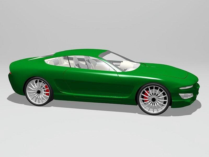 Green Sports Car 3d rendering