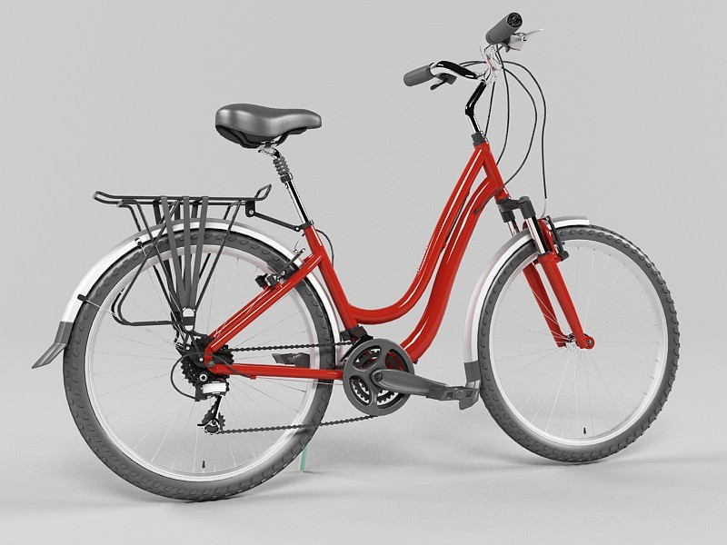 Red Bicycle 3d rendering