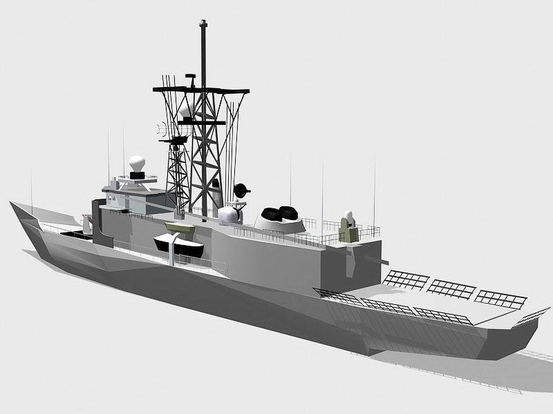 Modern Frigate Warship 3d rendering
