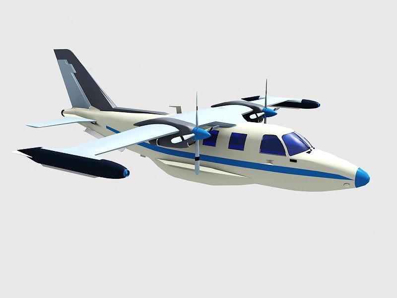 Old Prop Plane 3d rendering