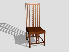 Vintage Wood Dining Chair 3d preview