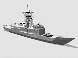 Modern Frigate Warship 3d preview