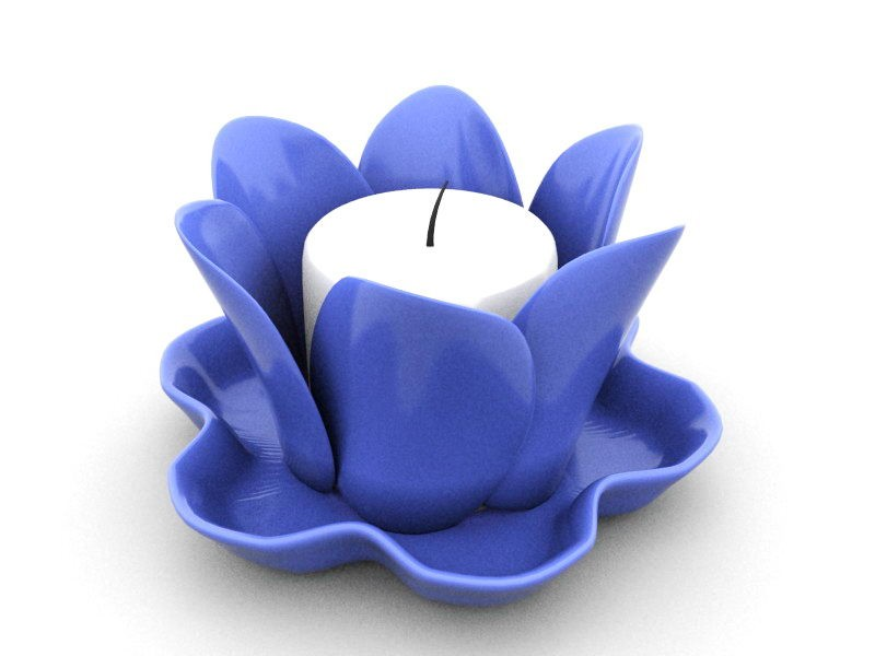 Candle with Flower Candle Holder 3d rendering