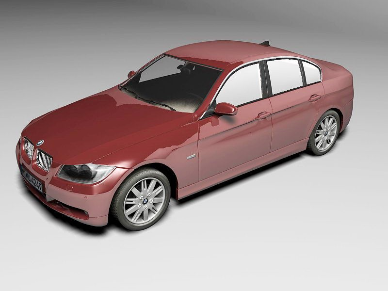 BMW Red Car 3d rendering