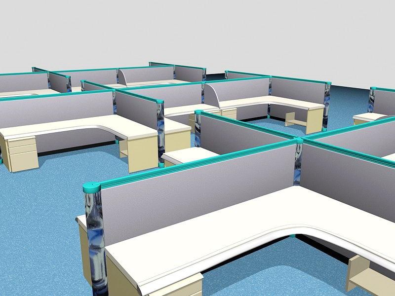 Office Cubicles and Workstations 3d rendering