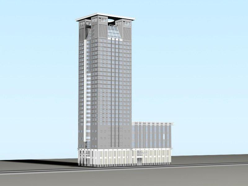 Modern Tower Block Office Exterior 3d rendering
