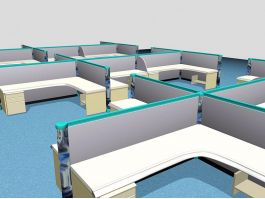 Office Cubicles and Workstations 3d model preview