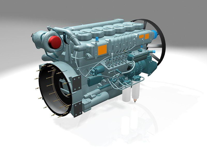 Car Engine with EGR 3d rendering