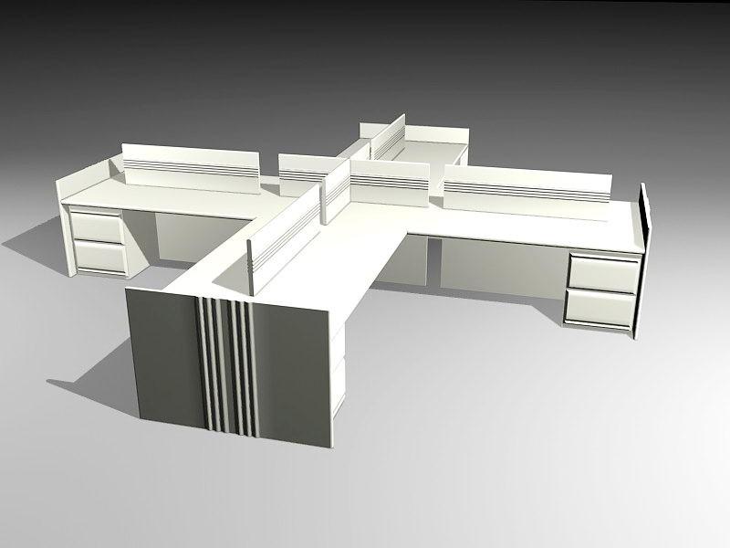 Office Space Cubicle 3d rendering
