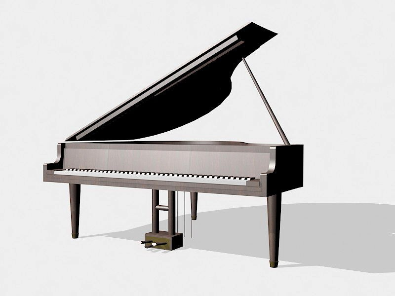 Grand Piano Instrument 3d rendering